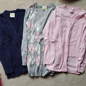 3 long girls size 7/8 cardigans like new